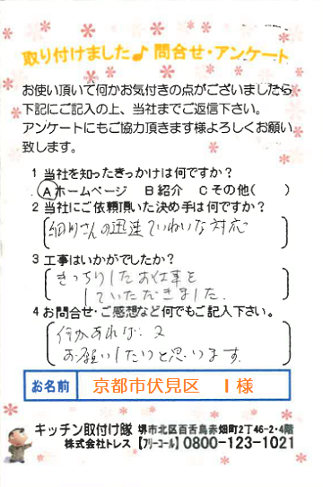 キッチンリフォーム 口コミ 京都市伏見区